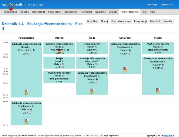 Dzienniki - plany lekcji